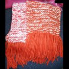 Long Hand Double Knit Red White Scarf  60 x 6 1/2""