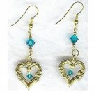 Blue Zircon Crystal Open Heart Dangle Earrings