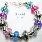 Large Holed SS Lined Bead Silver Plate Leather Bracelet Pink Blue Purple Clear