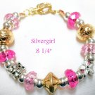 Large Holed SS Lined Bead Silver/Gold Plate Leather Bracelet Pink