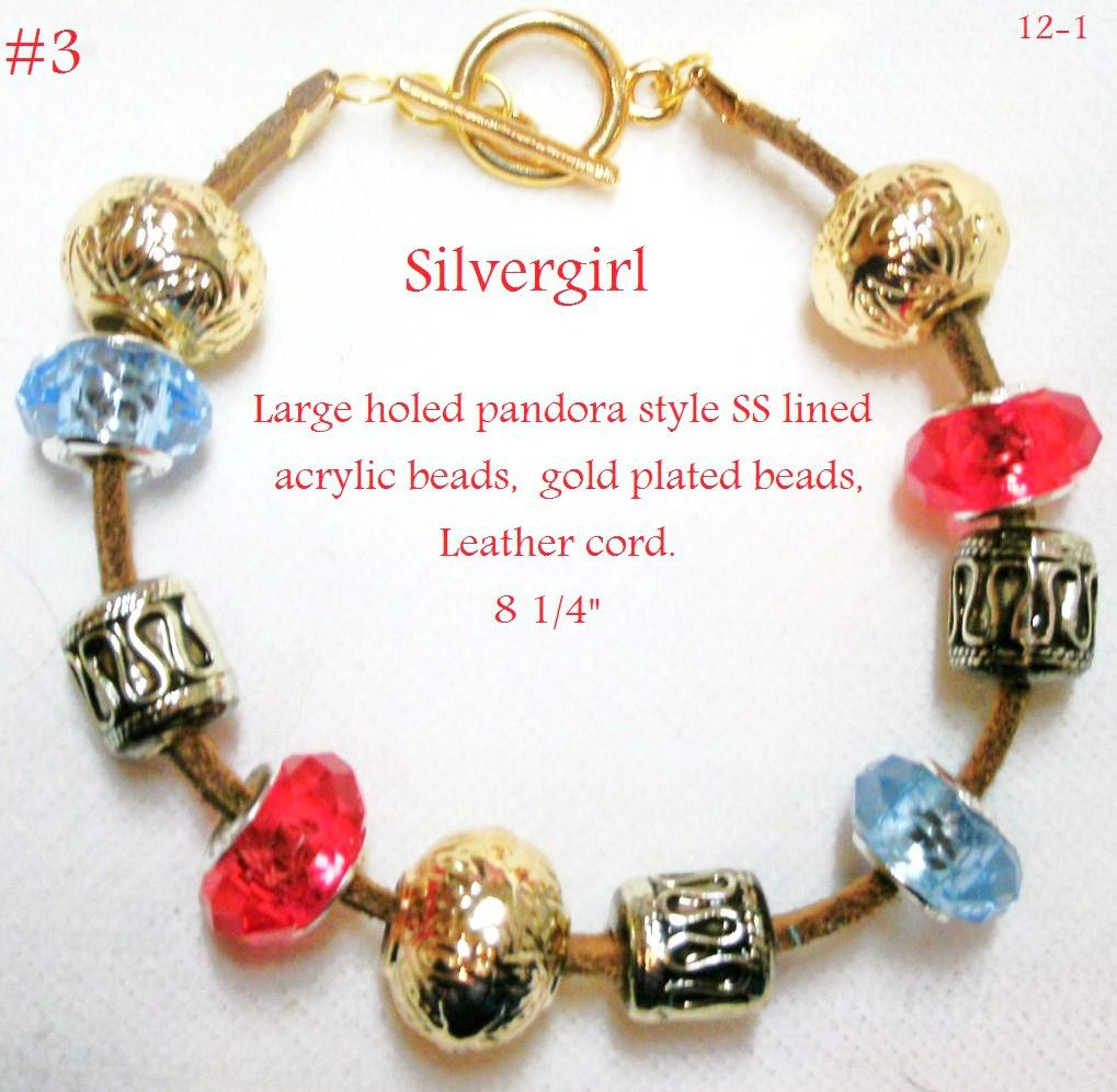 Large Holed SS Lined Bead Gold Plate Leather Bracelet Red Blue