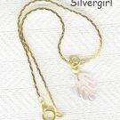 """Light Pink Leaf Bracelet 7"""" Gold Plate Chain"""
