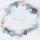"7"" Multiblue Gemstone Blue Bead Silvertone Bracelet"