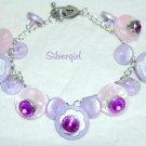 Pink Purple Rhinestone Button SP Charm Bracelet