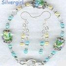 Crystal Floral Encased Lampwork Bracelet Set