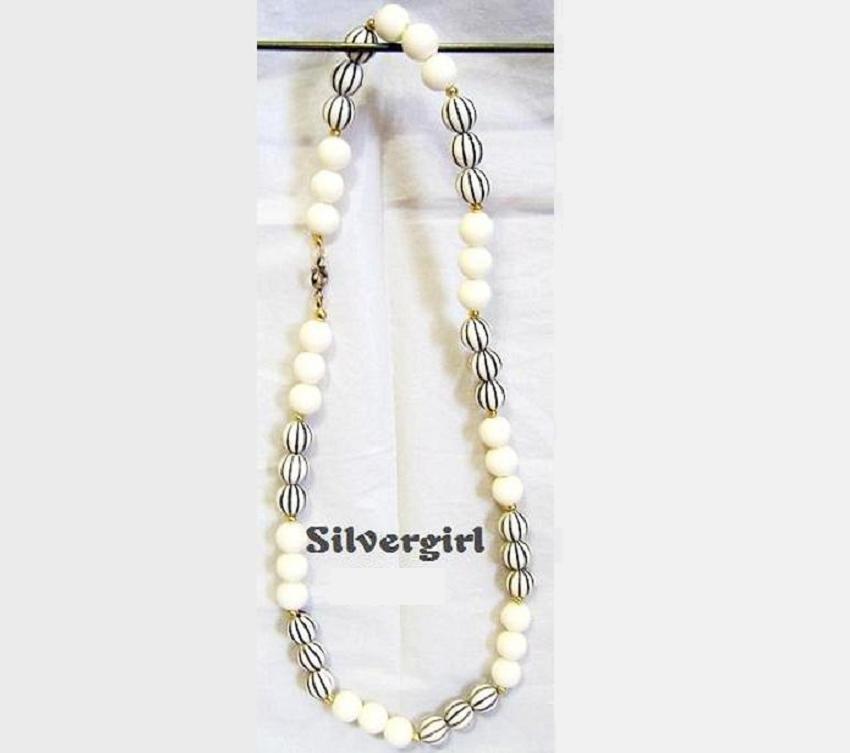Vintage Off White Black Plastic Beaded Necklace