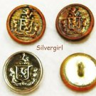 "5/8"" Brass Silver Crown Crest Shank Vintage Buttons"