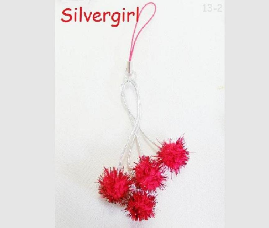 Cell Phone Charm Fun Sparkly Spiked Red Foil Rubber Balls Silver Plate