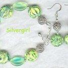 Limeade Polymer Clay Glass Bracelet & Earring