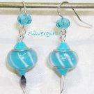 Aqua White SS Lined Lampwork Beaded Earrings