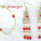 Siam Red Glass Bicone Imitation Pearl Bracelet Set