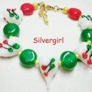 Lampwork Heart Gold White Red Green Gold Plate Bracelet Christmas