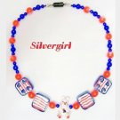 """Red White Blue Teddy Bear 14"""" Necklace"""