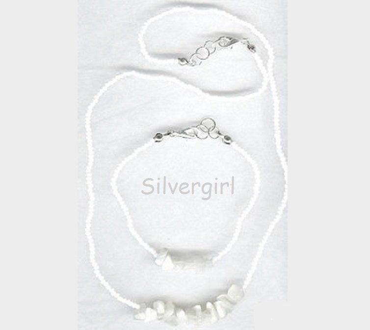 White Cat's Eye Seed Bead Stone Necklace Bracelet Set