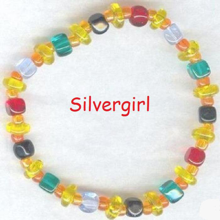 Multi Color Czech Glass Cube Bead Bunch Bracelet