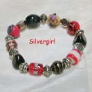 Red Black and Gold Chunky Lampwork Bracelet
