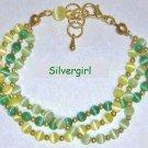 3 Strand Yellow Green Fiber Optic Beaded Bracelet