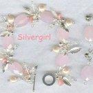 Rose Quartz Crystal Silver Charm Bracelet