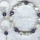 Celestrial Purple White Bracelet Earring Set