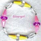 Girls Pretty Pink Yellow Beaded Bracelet