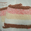 Large Soft Hand Knit Face or Dish Cloth Chocolate Brown White Cream Orange Mix