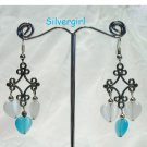 Fiber Optic Aqua White Heart Silver Chandelier Earrings