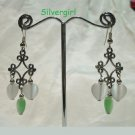 Fiber Optic Green White Heart Silver Chandelier Earrings