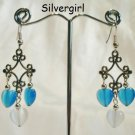 Fiber Optic Blue White Heart Silver Chandelier Earrings
