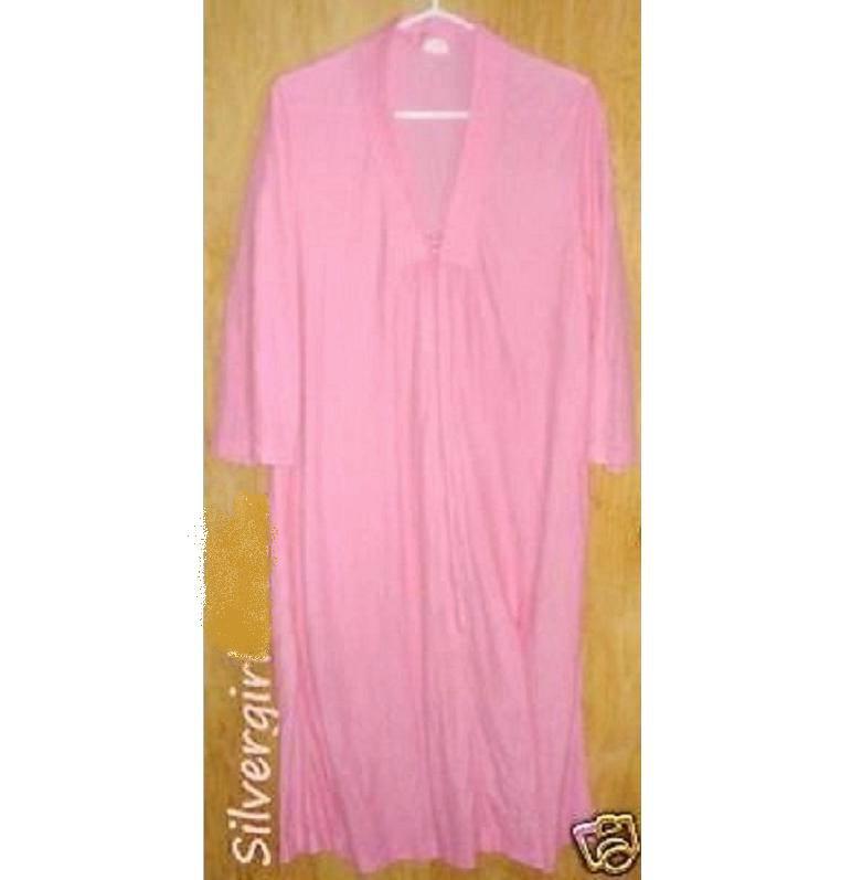 Vintage Lightweight Pink Fuzzy Pullover Zip Housecoat