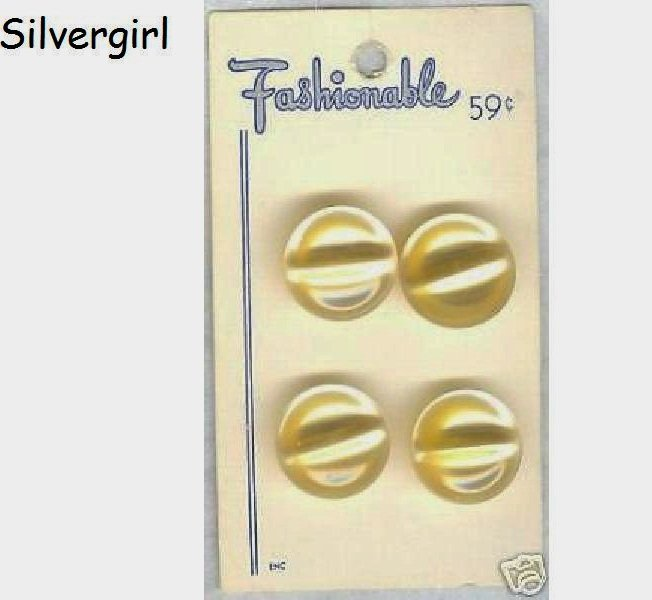 4 Vintage Pearly Look Shimmery Yellow Shank Buttons