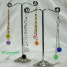 """3"""" Silver or Gold Plate Fibre Optic and Chain Earrings"""
