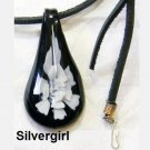 Leather & Glass Lampwork Pendant Necklace White