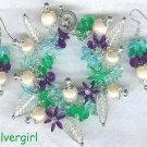 Pearls and Flowers Loaded Charm Bracelet & Earrings