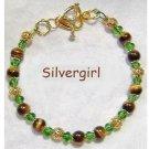 TIGER'S EYE Gemstone Glass Bracelet