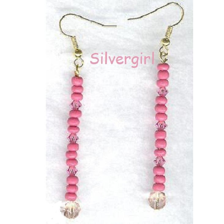Pink Crystal Hot Pink Beaded Stick Earrings