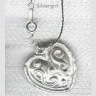 Silver Pewter Solid Heart Charm Necklace