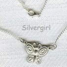 Silver Necklace Butterfly Pewter Charm