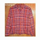 Red Blue Green Plaid Polyester Blouse  SZ M-LG