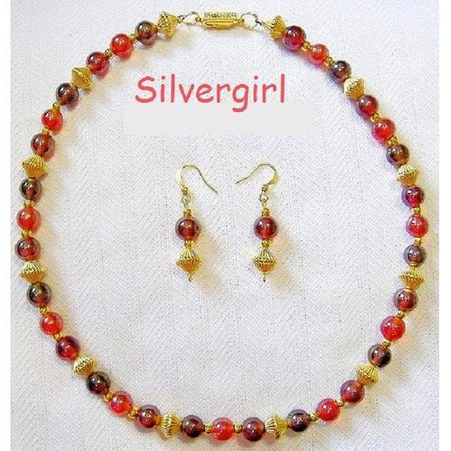 3 Tone Red Luster Glass Gold Plate Necklace Earring Set