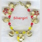 Floral Gold Red Yellow Cloisonne Bell Bracelet