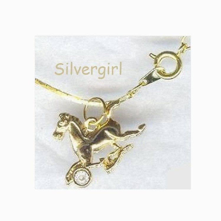 Gold Plate Running Horse Pendant Necklace