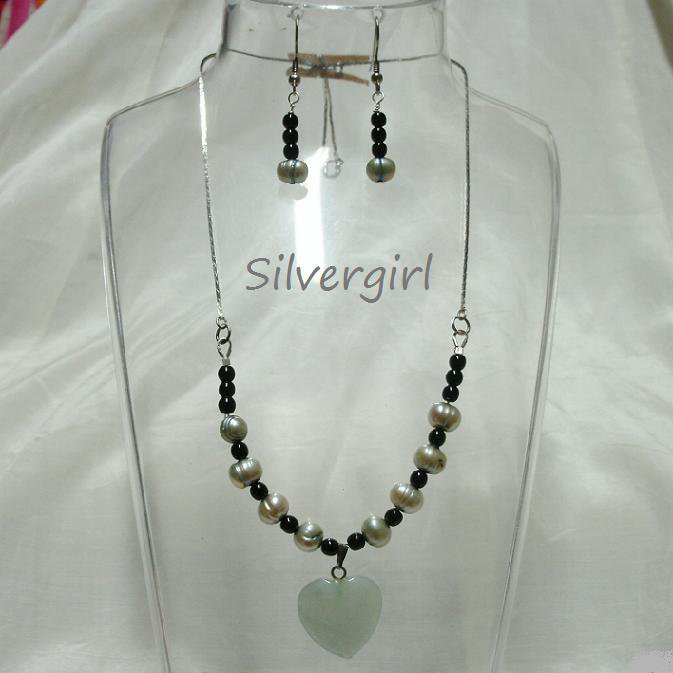 Pale Blue Silver Freshwater Pearl Necklace Set