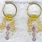 Amethyst Citrine Gemstone Hoop Earrings