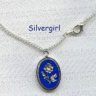 Silver Engraved Blue Cameo Style Flower Necklace