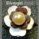 Fun Fashion Bronze White Brown Imitation Pearl Ring