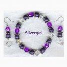 Royal Purple Crystal Satin Pearl Bracelet Set