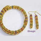 Gold Beads Crystal Collar Wire Wrap Bracelet Earrings