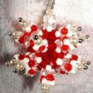 STARBURST Snowflake Suncatcher Red and White Pearl