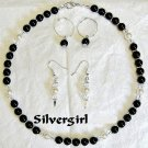 Basic Black and White Glass Pearl Necklace and Earrings