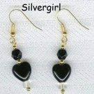 Czech Black Heart Frosted Bead Earrings